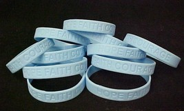 Light Blue Awareness Bracelets Lot of 12 Scleroderma Silicone IMPERFECT New - $8.79