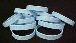 Light Blue Awareness Bracelets Lot of 100 Scleroderma Silicone IMPERFECT... - $51.91