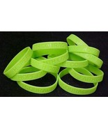 Lime Green Awareness Bracelets Lot of 12 Silicone Cancer Wristbands IMPE... - $12.97