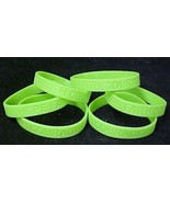 Lime Green Awareness Bracelets Lot of 6 Silicone Cancer Wristbands IMPER... - $10.97