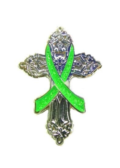Primary image for Lime Green Religious Cross Cancer Church Silver Plated Cancer Awareness Pin New