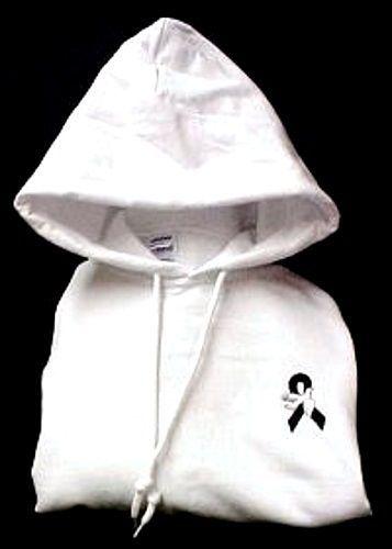 Black Awareness Ribbon Hoodie S White Dove Sweatshirt Melanoma Month May New