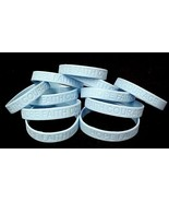 Lymphedema Awareness Bracelets Lot of 12 Light Blue Silicone Hope Faith ... - $12.71