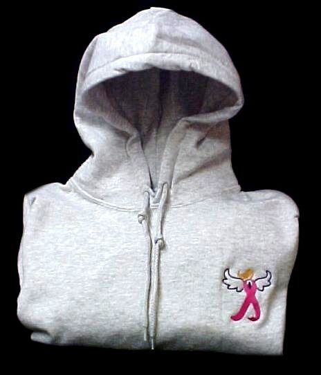 Breast Cancer Hoodie XL Sweatshirt Pink Awareness Ribbon Angel Gray Unisex New