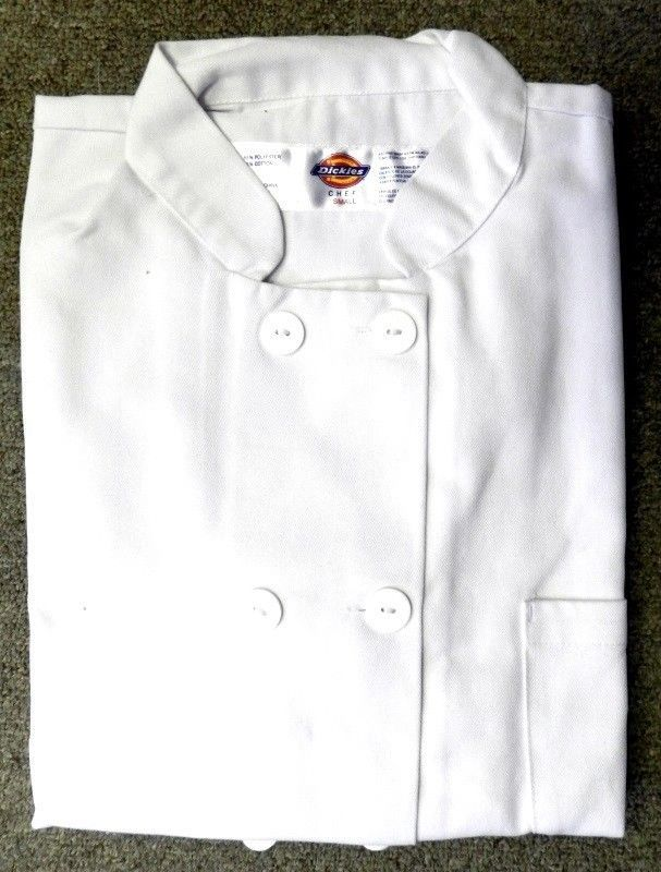 Dickies Chef Coat Jacket SM CW070309A Restaurant Button Front White Uniform New
