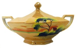 Peach Lustreware Covered Sugar Bowl Hand Painted House Tree Lake Japan V... - $58.17