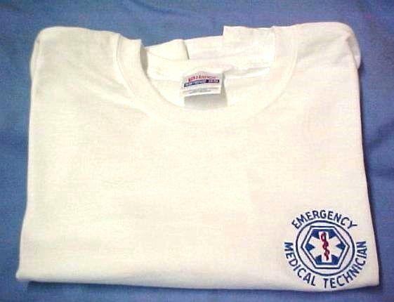 EMT T Shirt L Emergency Medical Technician White Short Sleeve Blend Star New