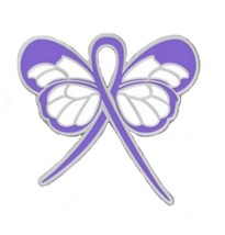 Periwinkle Awareness Ribbon Butterfly Pin Cancer Cause Esophageal Stomac... - $13.97