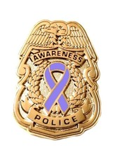 Periwinkle Awareness Ribbon Pin Police Badge Security Sheriff Cancer Gol... - $13.97