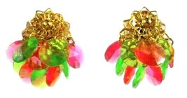 Pink Green Cluster Gold Plated Dangle Clip On Back Fashion Earrings Vintage - $29.37