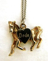 Pony Heart Engraved Dode Horse Necklace Gold Silver Plated Pet Pendant Vintage - $19.57
