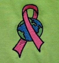 Pink Ribbon T Shirt Large Breast Cancer World Lime S/S Crew Neck Unisex New - $23.25