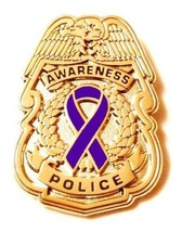Purple Awareness Ribbon Pin Police Badge Office... - $13.97