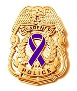 Purple Awareness Ribbon Pin Police Badge Officer Sheriff Cop Cancer Gold... - $13.97