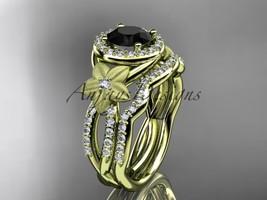 14kyellow gold diamond engagement set with a Black Diamond center stone ... - $2,645.00