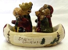 Salt Pepper Shaker Set Bear Reindeer Canoe St Nicholas Square Seasons Gr... - $16.45