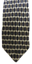 Silk Men's Neck Tie Harbour Classics Navy Blue Tan Gold Geometric Oval Diamond - $24.47