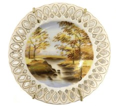 Rossetti Plate Occupied Japan Fall Autumn Landscape Vintage Hand Painted - $29.37