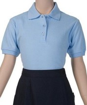 School Uniform Girls 5 Blue French Toast Polo Picot Collar Shirt New - $12.58