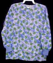Scrub Jacket Warmup XS Women Blue Max Uniforms Frog Print Cotton Blend New - $19.37