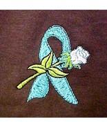 Teal Ribbon Rose T-Shirt XL 100% Cotton Brown Long Sleeve Cancer Awarene... - $25.19