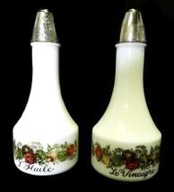 Spice of Life Oil Vinegar Cruet Set Milk White Vintage Gemco Corning Corelle - $31.33