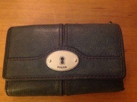 Fossil Marlow Multifunction Trifold Clutch Wallet Leather Blue - $24.18