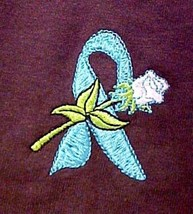 Teal Awareness Ribbon T Shirt L White Rose Brown Short Sleeve Ovarian Ca... - $21.53