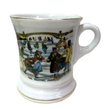 Vintage Currier Ives Ceramic The Skating Pond Gold Trim Mustache Cup Mug - $58.77
