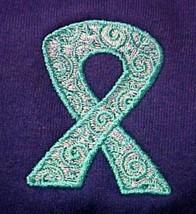 Teal Scrolled Ribbon Hoodie 5XL Ovarian Cancer Awareness Purple Sweatshirt New - $34.27