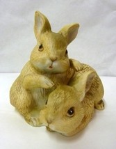 Vintage Homco Porcelain Brown Bunny Rabbit Pair Figurine Collectible 1455 - $39.17