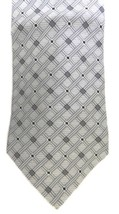 Zylos George Machado Men's Neck Tie Silk Gray Silver Black Striped Check... - $16.63