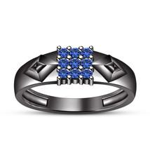 RD Blue Sapphire 925 Silver 14k Rhodium Fn Beautiful Jewelry Nine Stone ... - $93.23