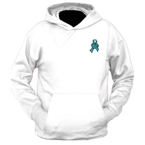 Ovarian Cancer Hoodie Large Teal Ribbon World Embroidery White Sweatshirt New