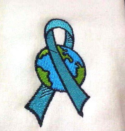 Ovarian Cancer Hoodie Medium Teal Ribbon World Embroidery White Sweatshirt New