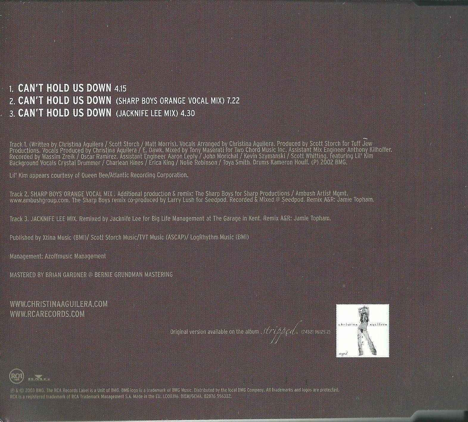 CHRISTINA AGUILERA FEATURING LIL' KIM - CAN'T HOLD US DOWN 2003 EU CD SINGLE