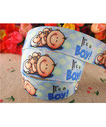 "Baby Boy Blue Printed Grosgrain Ribbon7/8""22mm/DIY BOW/Baby Shower Decor... - $3.50"