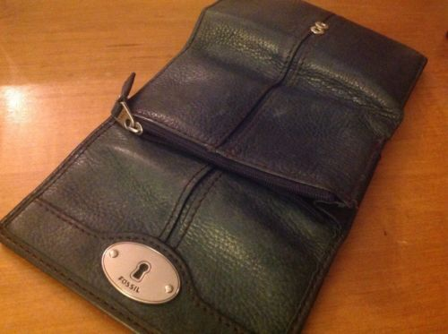 Fossil Marlow Multifunction Trifold Clutch Wallet Leather Blue