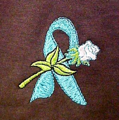 Teal Awareness Ribbon T Shirt L White Rose Brown Short Sleeve Ovarian Cancer New