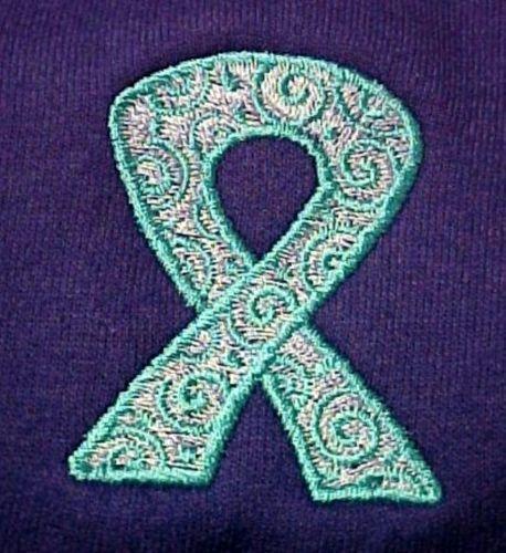 Teal Scrolled Ribbon Hoodie 5XL Ovarian Cancer Awareness Purple Sweatshirt New
