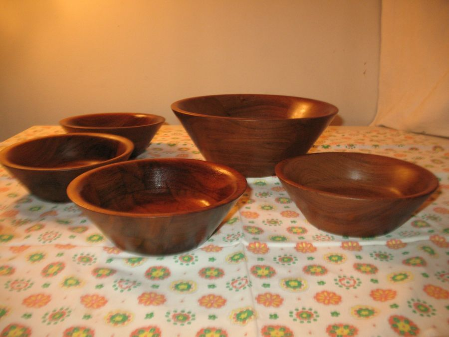 Vintage Five Piece Fruit Salad Wood Bowl Set Burl Walnut