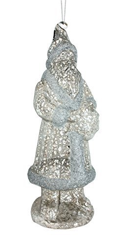 "Antique Mercury Glass Looking Santa Ornament 10""l Glass [Kitchen]"