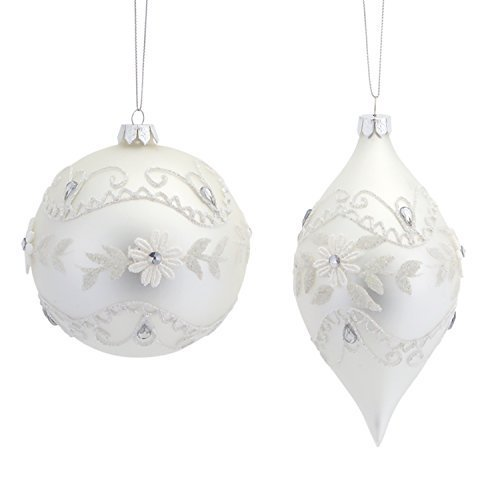 "White Ball W Shuttle Ornament (X2 Asst) 4""h-6""h Glass Crochet Look [Kitchen]"