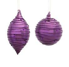 """Purple Ball and Shuttle Ornament (X2 Asst) 4""""h-6""""h Glass [Kitchen]"""