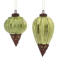 "Ornament (Set of 2) 5""h-7""h Vintage Mercury Glass and Metal Style amber green..."