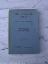 Haggard, H. Rider KING SOLOMON'S MINES Proof Copy - $74.47