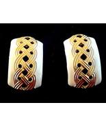 Vintage Signed Don-Lin Enamel Gold Tone Earrings - $5.00