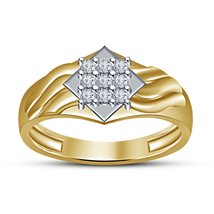 18k Yellow Gold Finish Solid 925 Silver Round Cut Sim Diamond Nine Stone Ring - £52.66 GBP