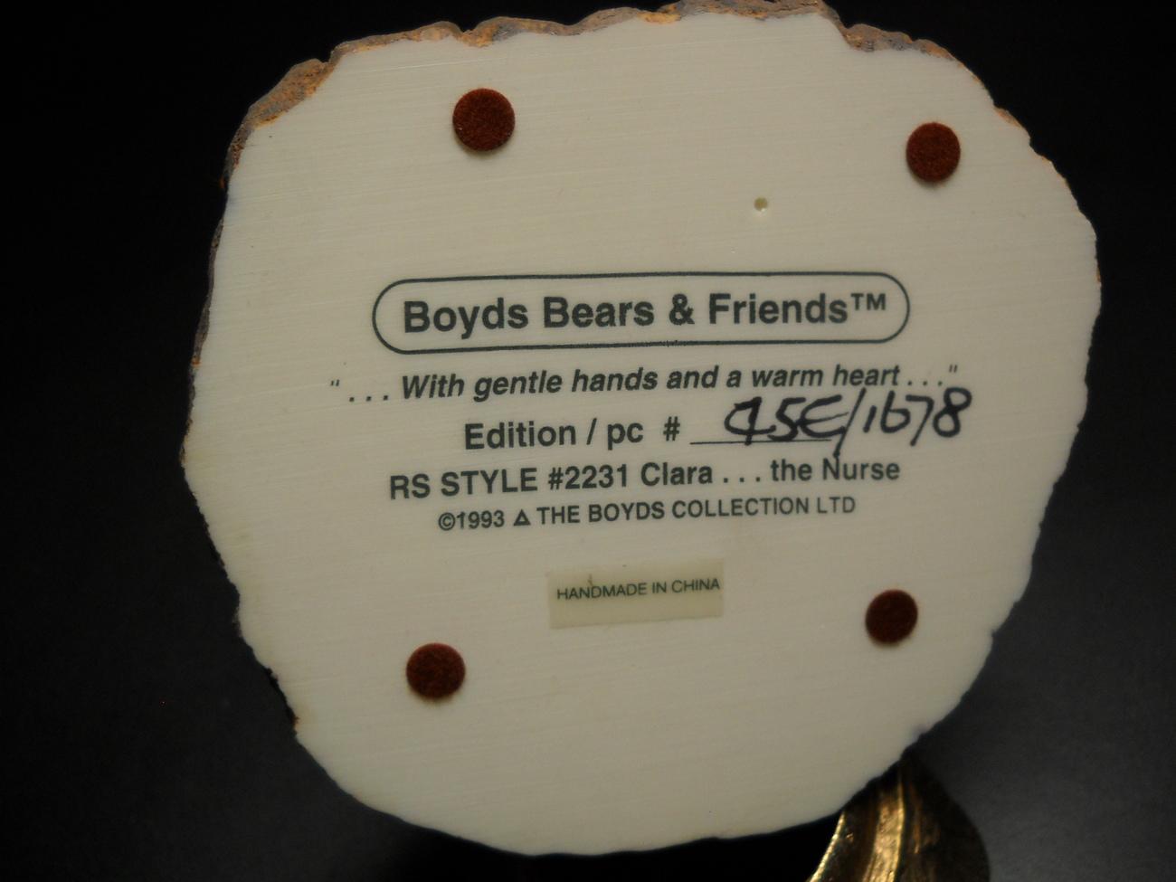 Boyds Bears Bearstone Collection Collectible Nurse Clara Original Retail Box