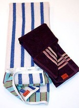 MISSONI HOME GUEST & HAND TOWEL SET OF 2 PEZZI STRIPE TERRY COTTON MADE ... - $49.49